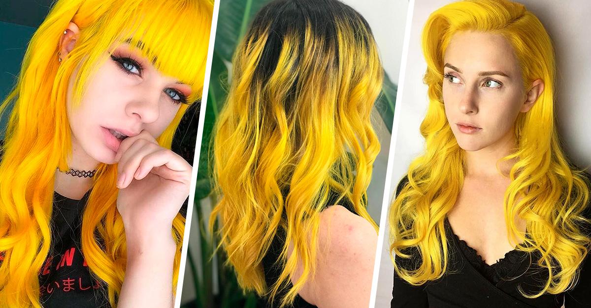 Saca tu lado divertido tiñendo tu cabello de color amarillo canario
