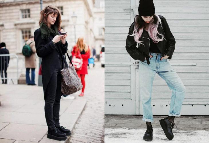 Mujeres usando creepers, zapatos de suela alta, y pantalón de mezclilla