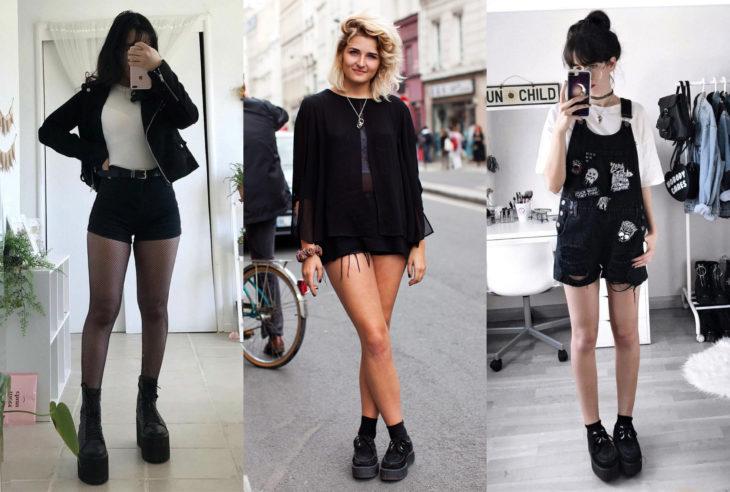 Mujeres usando creepers, zapatos de suela alta, con shorts
