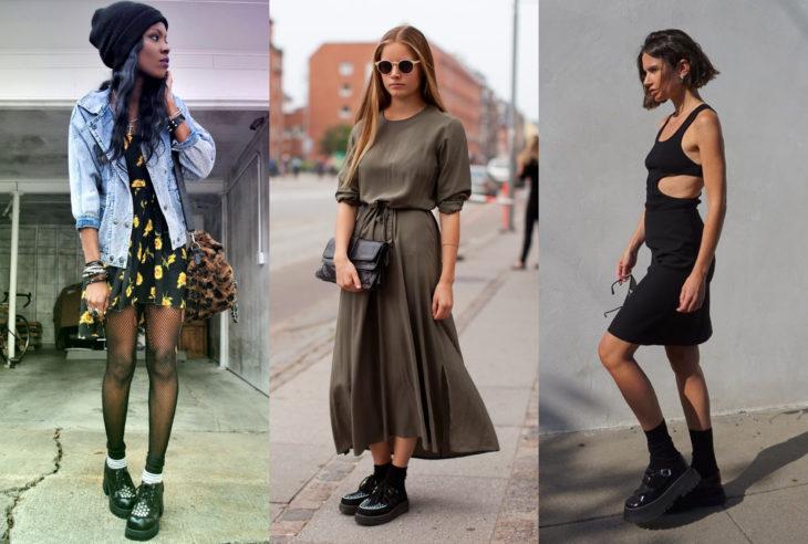 Mujeres usando creepers, zapatos de suela alta, y vestidos cortos y largos