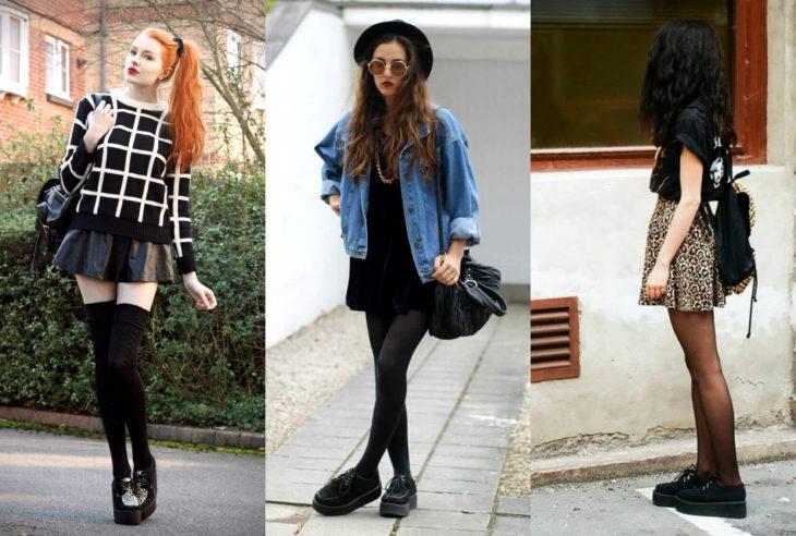 Mujeres usando creepers, zapatos de suela alta, con faldas y medias largas y cortas
