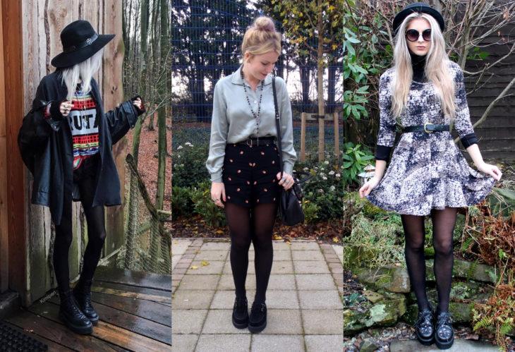 Mujeres usando creepers, zapatos de suela alta, con vestido y medias negras