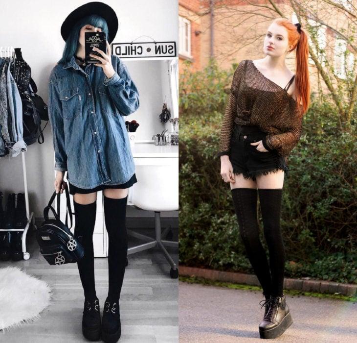 Mujeres usando creepers, zapatos de suela alta, y shorts con calcetas largas