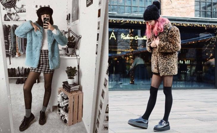 Mujeres usando creepers, zapatos de suela alta, y abrigos gruesos
