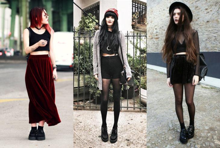 Mujeres usando creepers, zapatos de suela alta, y faldas largas y cortas con un look de bruja gótica