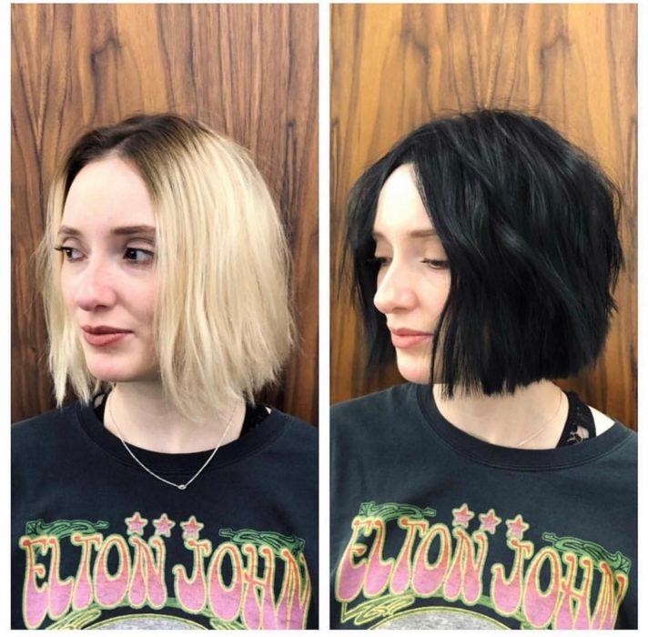 Cambio de look de una chica de rubia a cabello de color negro