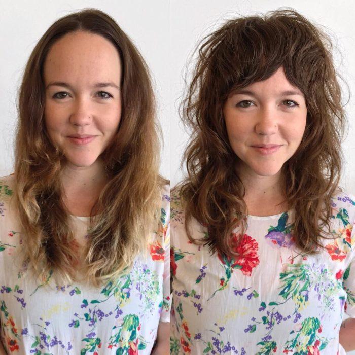 Chica mostrando su cambio de estilo de cabello. En la primera imagen sin fleco y en la segunda con un fleco estilo cortina