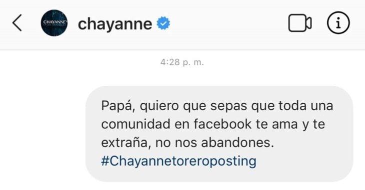 Mensaje en Twitter felicitando a Chayanne por el día del padre