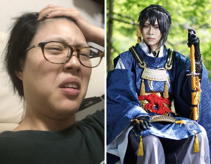 Mujer preocupada, tocando su frentes, usando gafas, sentada, antes y después de hacer cosplay