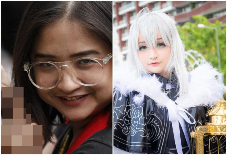 Chica con rasgos asiáticos antes y después de hacer cosplay