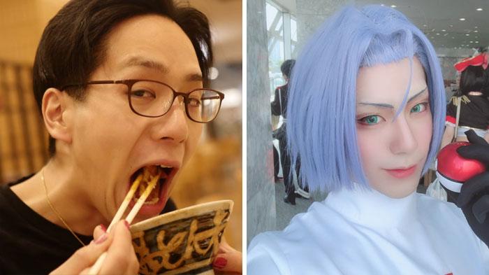 Hombre comiendo esparragos, usando lentes, posando para una foto graciosa, antes y después de hacer cosplay