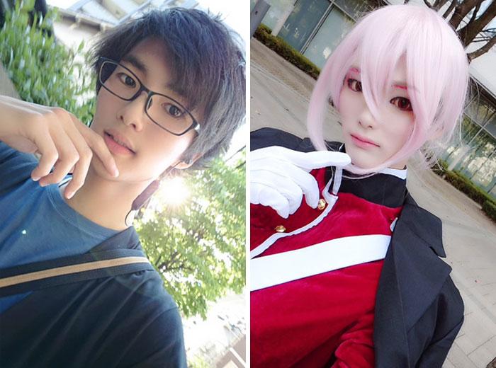 Hombre tocando su barbilla, usando gafas, tomando una selfie, antes y después de hacer cosplay