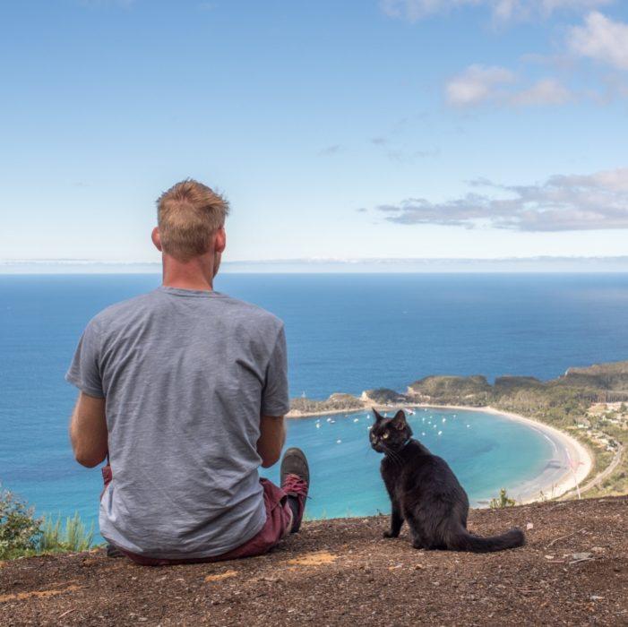 Rich y Willow sentados en la orilla de una colina admirando el mar