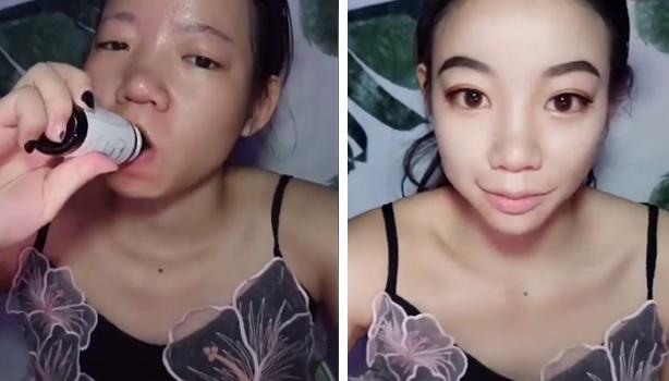 Mujer de rasgos asiáticos bebiendo drinks beauty
