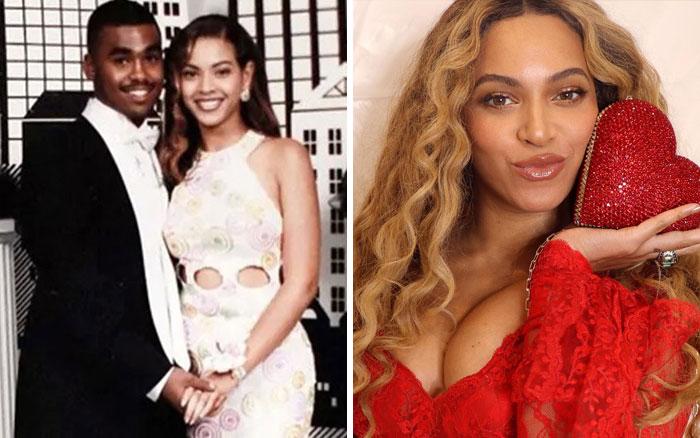 Beyoncé en su baile de graduación y después en la época actual