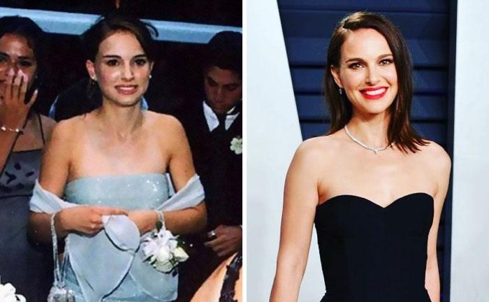 Natalie portman usando un vestido azul durante su baile de graduación vs usando un vestido negro durante los globos de Oro en Hollywood