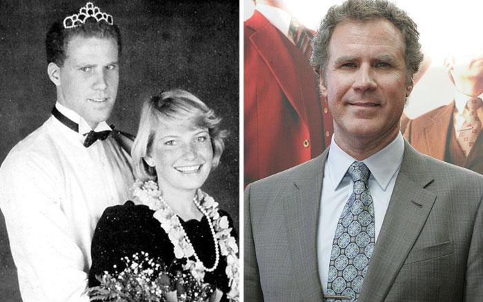 Will Ferrell cuando era joven durante su baile de graduación y después en la premier de una película