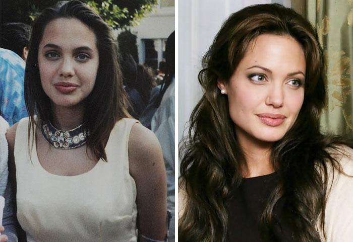 Angelina Jolie cuando era joven y estaba en su baile de graduación. Después sonriendo en la época actual