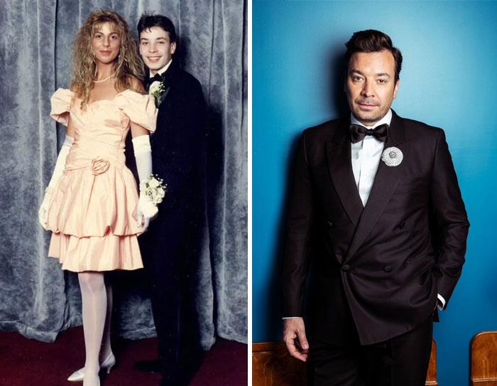 A la izquierda: Jimmy Fallon en su baile de graduación. A la derecha en la actualidad