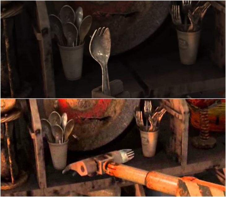 Escenas de la película Wall-e sosteniendo un tenedor