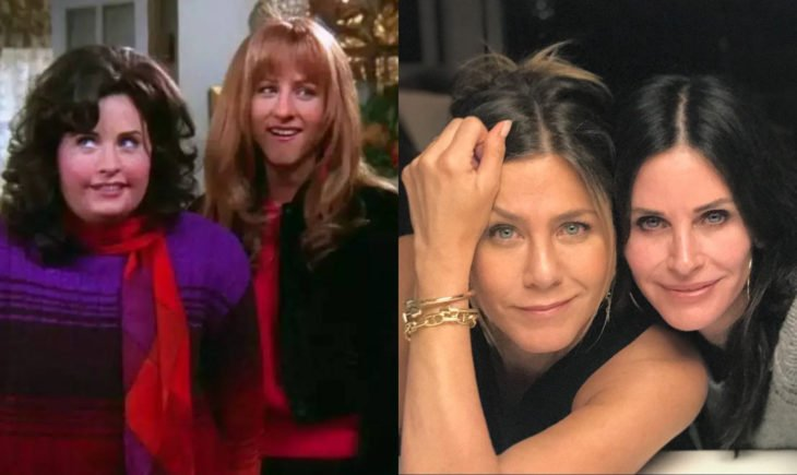 Jennifer Aniston y Courteney Cox; Rachel Green son su nariz de antes, y Monica Geller gorda en Friends