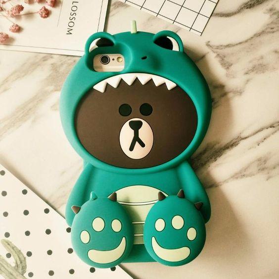 Funda para celular tamaño extra grande con diseño de oso vestido de dinosaurio