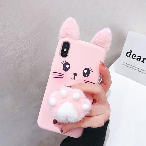 Funda para celular tamaño extra grande con diseño de conejo acolchonado