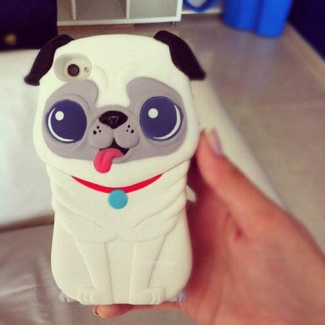 Funda para celular tamaño extra grande con diseño de perro pug blanco