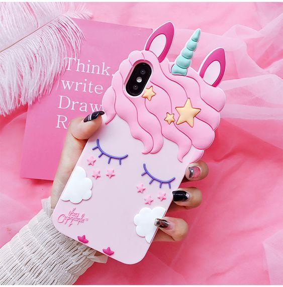 Funda para celular tamaño extra grande con diseño de unicornio en color rosa
