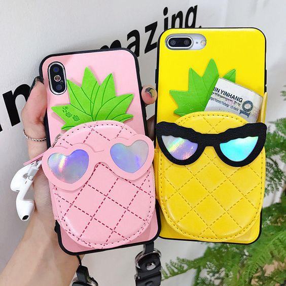 Fundas para celular tamaño extra grande con diseños de frutas en color rosa y amarillo