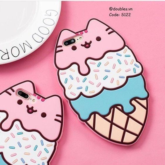 Funda para celular tamaño extra grande con diseño de helados de nieve con rostro de gatos