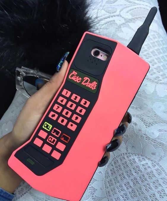 Funda para celular tamaño extra grande con diseño de teléfono inalámbrico de 1990