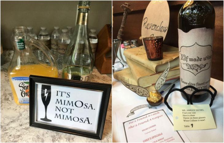 Botellas de vino sobre mesas de madera con mensajes de Harry Potter