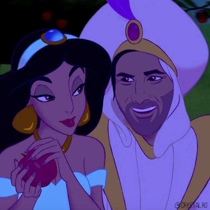 Animación de Jazmín con Keanu Reeves como Aladdin película Aladdin