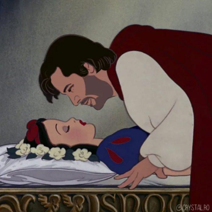 Animación de Blancanieves recostada con Keanu Reeves como el príncipe, escena película Blancanieves