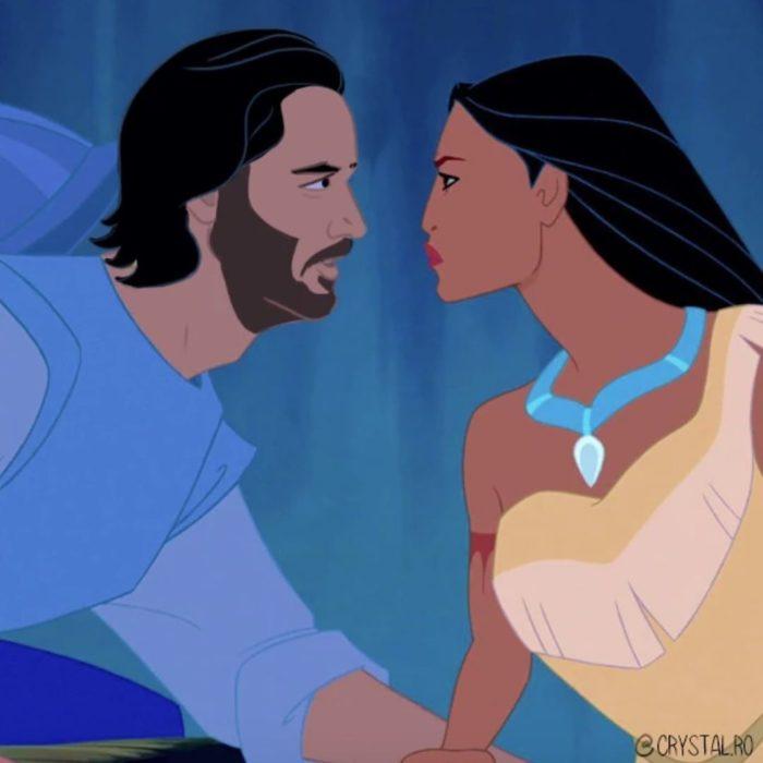 Animación de Pocahontas con Keanu Reeves como John Smith, escena película Pocahontas