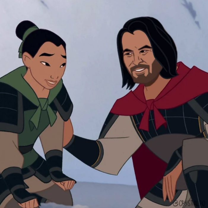 Animación de Mulan junto a Keanu Reeves, escena película animada Mulan