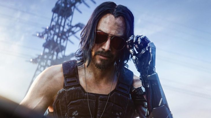 Imagen del juego Cyberpunk 2077 con Keanu Reeves tocando sus lentes