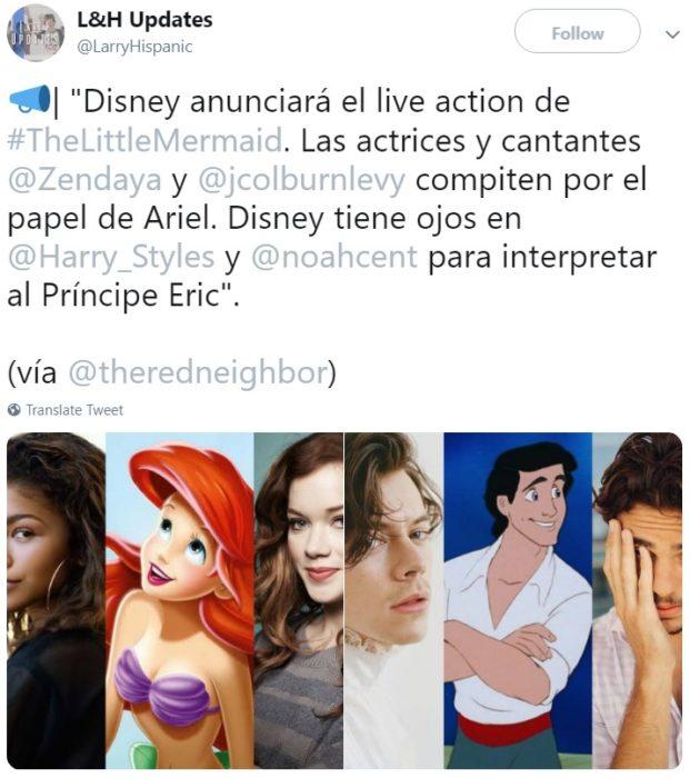 Rumores sobre el reparto de La Sirenita live action apuntan a que Noah Centineo o Harry Styles podrían interpretar al príncipe Erik