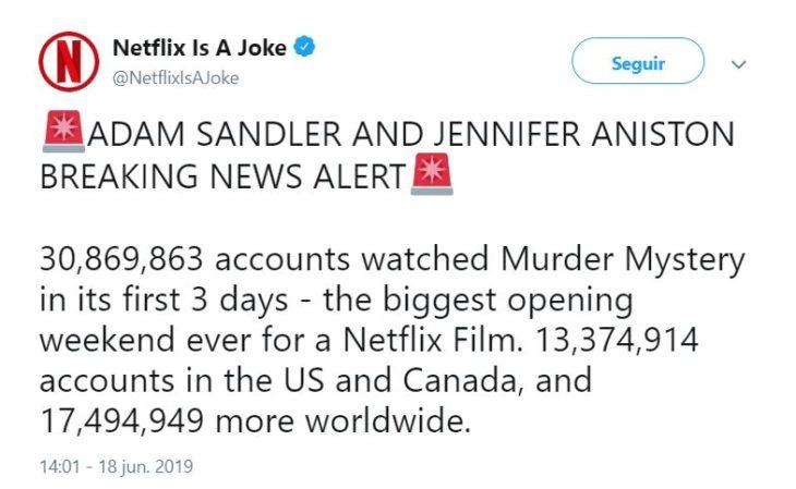Twitt de la cuenta de comedia de Netflix en donde dice cuántas vistas tuvo la película Murder Mystery