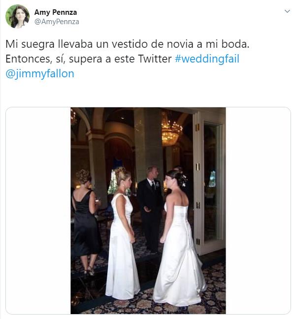 Comentario en twitter sobre la publicación de que su suegra apareció vestida de novia en su boda