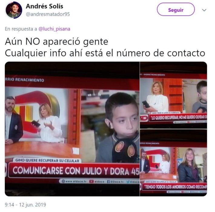 post de un usuario de redes en donde presenta al niño que perdió su celular en un taxi con fotos y videos de su mamá fallecida