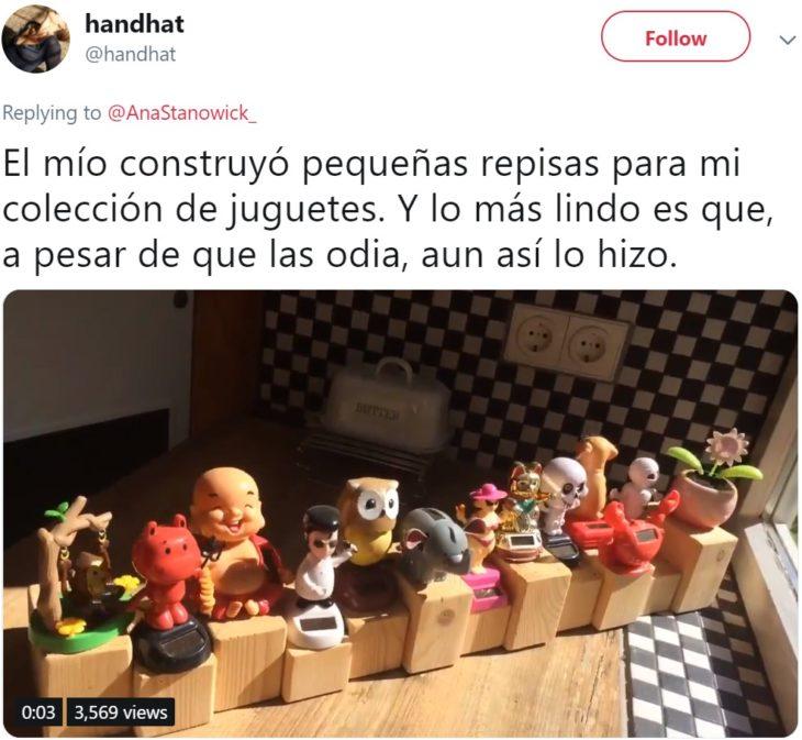 Hombre construye repisa a su novia para que exhiba su colección de tazas, y conmueve a Twitter