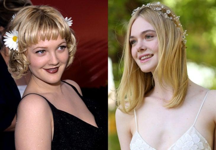 Peinados de los noventa que están de vuelta; actrices Drew Barrimore y Elle Fanning con flores en el cabello