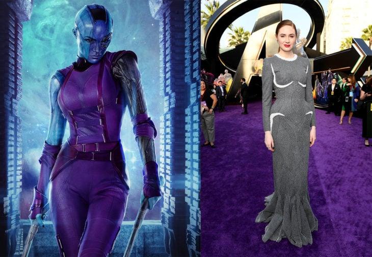 Karen Gillan interpretando el personaje de nebula en Avengers