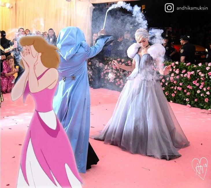 Artista Andhika Muksin recrea personajes Disney; Zendaya con vestido de Cenicienta en la Met gala