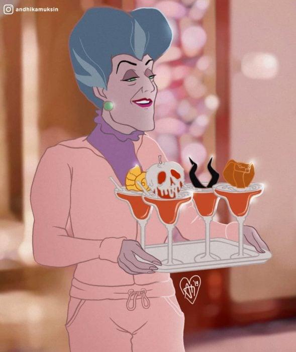Artista Andhika Muksin recrea personajes Disney; Lady Tremaine, madrastra de La Cenicienta con bebidas para villanas