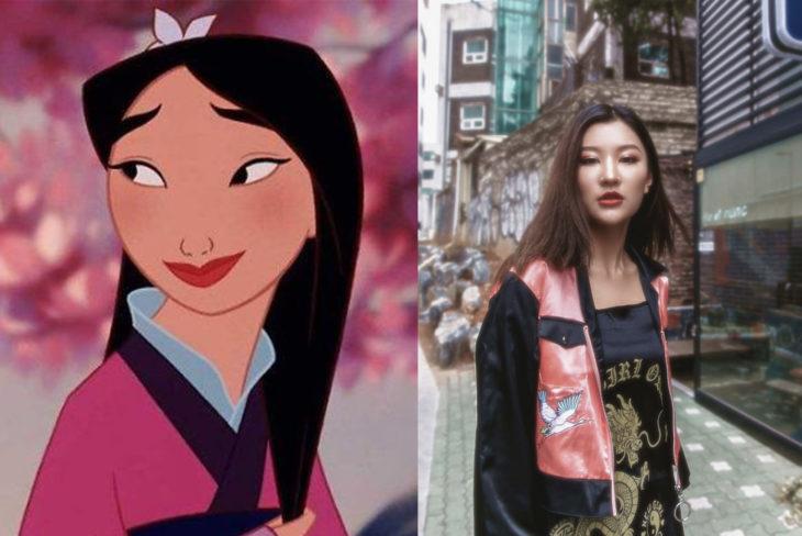 Comparación de una modelo con la princesa Mulan de Disney