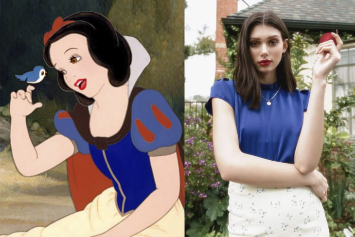 Comparación de una modelo con la princesa Blanca Nieves