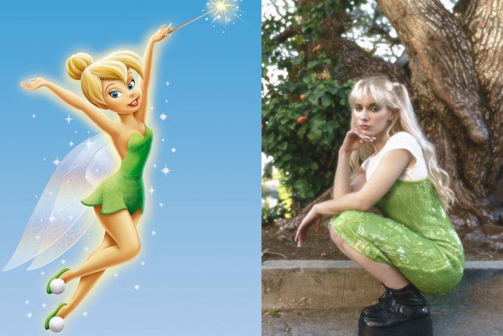 Comparación de una modelo con la princesa Campanita